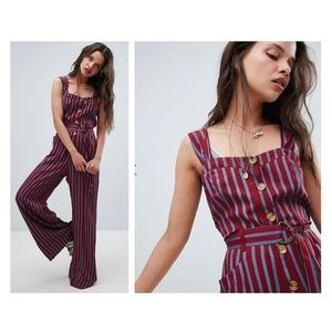 NWT Free People City Girl Wine Striped Jumpsuit